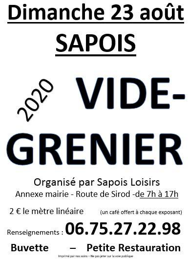 VIDE GRENIER 23 AOUT 2020 A SAPOIS  ANNULEE RDV EN 2021 à Sapois